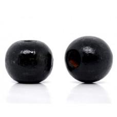 Бусина деревянная круглая глянцевая черная 10*9 мм