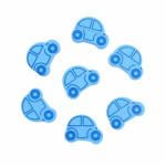 Бусина деревянная Машина голубая 25*19 мм