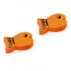 Бусина деревянная Рыбка оранжевая 19*11 мм