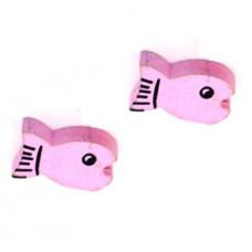 Бусина деревянная Рыбка розовая 19*11 мм