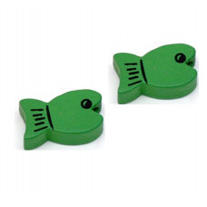 Бусина деревянная Рыбка зеленая 19*11 мм