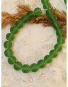Бусины стеклянные матовые насыщенно-зеленые 10 мм