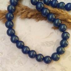 Бусины стеклянные синие с перламутровым эффектом 10 мм