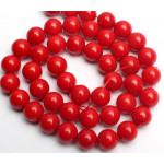 Бусины каменные агат ярко-красные 8 мм