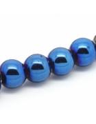 Бусины каменные гематит темно-синие 8 мм