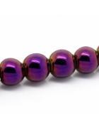 Бусины каменные гематит темно-пурпурные 8 мм