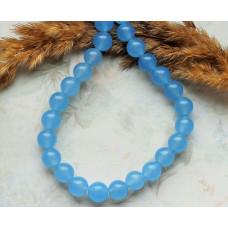 Бусины каменные нефрит (жадеит) голубые полупрозрачные. 8 мм