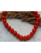 Бусины каменные нефрит (жадеит) красные 10 мм