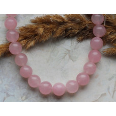 Бусины каменные нефрит (жадеит) розовые полупрозрачные 10 мм