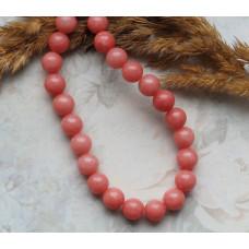 Бусины каменные нефрит (жадеит) нежно-коралловые 8 мм