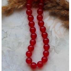 Бусины каменные нефрит (жадеит) красные полупрозрачные 8 мм