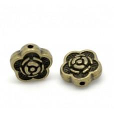 Бусины металлические Цветок 7 мм. Цвет бронза