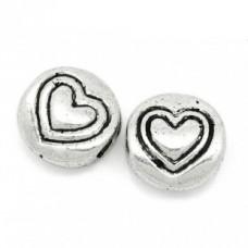 Бусины металлические с сердечками 6 мм. Цвет черненое серебро
