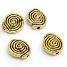 Бусины металлические Спираль. Цвет золото. 12 мм