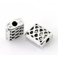 Бусины металлические с сеточкой 7*6 мм. Цвет черненое серебро