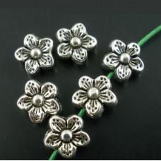 Бусина металлическая Цветок 9 мм. Цвет черненое серебро