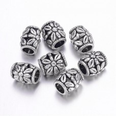 Бусины металлические в форме бочонка с цветком. Цвет черненое серебро