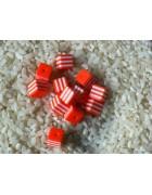 Бусины пластиковые квадратные бело-оранжевые 8 мм