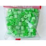 Бусины пластиковые цилиндры бело-зеленые 8 мм