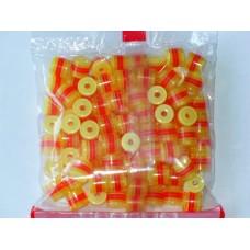 Бусины пластиковые цилиндры красно-желтые 8 мм