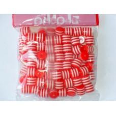 Бусины пластиковые цилиндры бело-красные 8 мм