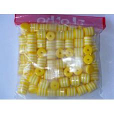 Бусины пластиковые цилиндры бело-желтые 8 мм