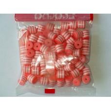 Бусины пластиковые цилиндры бело-розовые 8 мм