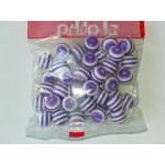 Бусины пластиковые полосатики круглые бело-сиреневые