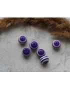 Бусины пластиковые круглые бело-фиолетовые 12 мм