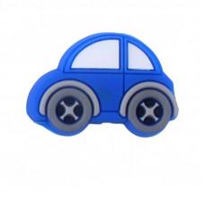 Бусина силиконовая Машина синяя 21*30 мм