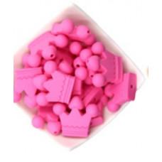 Бусина силиконовая Корона розовая 30*36 мм