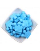 Бусина силиконовая Корона голубая 30*36 мм