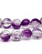 Бусины стеклянные  кракле фиолетовые. 10 мм
