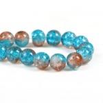 Стеклянные бусины кракле коричнево-синие 10 мм