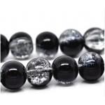 Стеклянные бусины кракле прозрачно-черные 10 мм