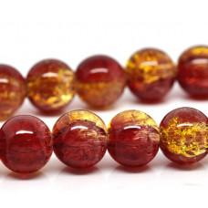 Бусины стеклянные  кракле красно-желтые. 8 мм