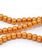 Бусины стеклянные под жемчуг. Оранжевые (нежный оттенок). 8 мм