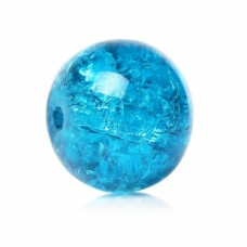Бусины стеклянные кракле темно-голубые. 10 мм