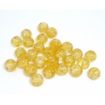 Бусины стеклянные кракле прозрачно-желтые. 8 мм
