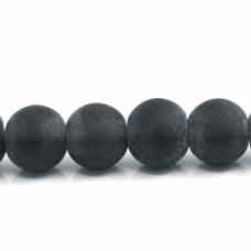 Бусины стеклянные кракле черные матовые. 10 мм