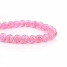Бусины стеклянные кракле розовая 8 мм