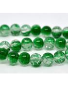 Бусины стеклянные кракле прозрачно-зеленые. 10 мм
