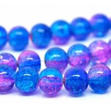 Бусины стеклянные  кракле темно-голубые/розовые. 8 мм