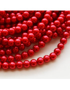 Бусины стеклянные под жемчуг красные 3 мм. 10 шт