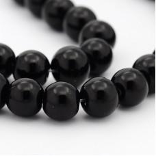 Бусины стеклянные черные 6 мм