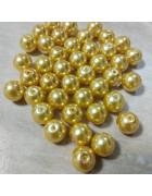 Бусины стеклянные под жемчуг золотистые 10 мм