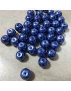 Бусины стеклянные под жемчуг темно-синие 10 мм