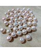 Бусины стеклянные под жемчуг бледно-розовые 10 мм