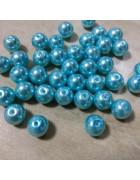 Бусины стеклянные под жемчуг голубые 10 мм