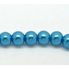 Бусины стеклянные под жемчуг голубые 8 мм